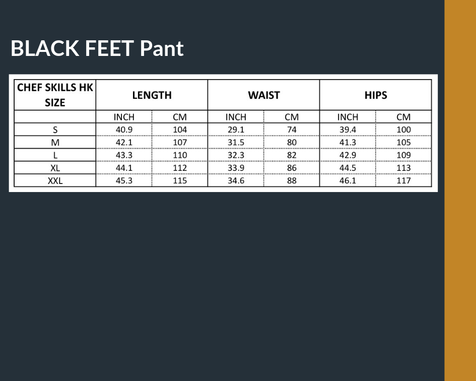 MEN Size Chart black feet pant