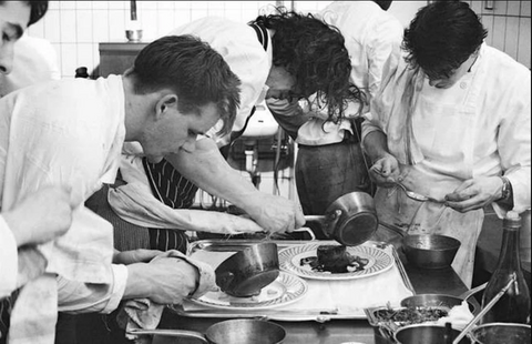 Young Gordon Ramsay being trained by his mentor Marco Pierre White in 1980.