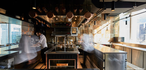 Écriture Restaurant Michelin 2-Starred Kitchen Hong Kong get a Molteni Stove in the center of the kitchen