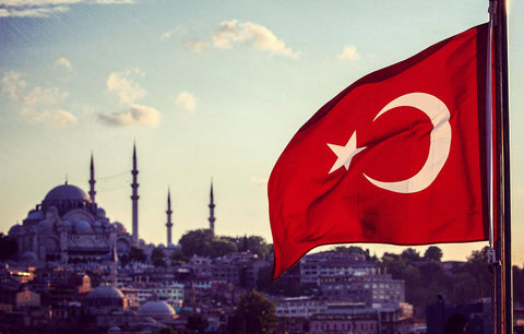 Turkey flag with Istanbul Grand Mosque in Background