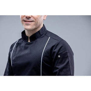 CALUSA Slimming Black Chef Coat Long Sleeves - Chef Skills Hk
