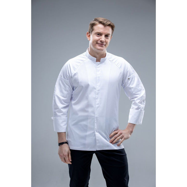 ChefSkillsHK OCAINAS Long Sleeves Men Chef Jacket with square mandarin collar 91US$
