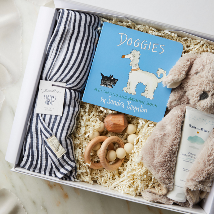 curated_gift_box_new_baby_boy_muslin_blanket_lovey_book_teether_diaper_cream