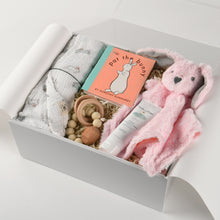 Load image into Gallery viewer, curated_gift_box_new_baby_girl_muslin_blanket_lovey_book_teether_diaper_cream_2