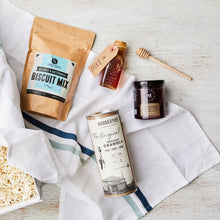 Load image into Gallery viewer, curated_gift_box_breakfast_biscuits_jam_granola_honey_towel