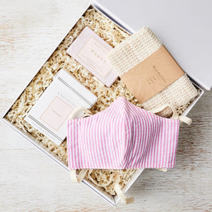 curated_gift_box_peony_candle_soap_pink_striped_mask