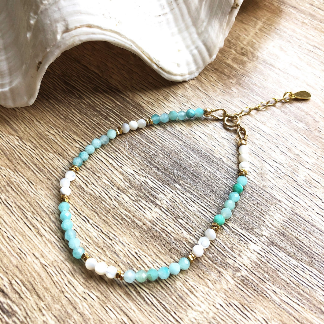 Bracelet Ibiza Amazonite Nacre Or