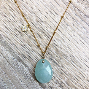 Collier Alma Aventurine Or