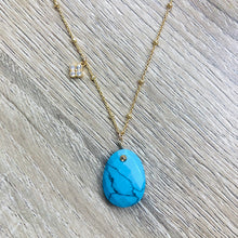 Charger l'image dans la galerie, Collier Alma Howlite Turquoise Or
