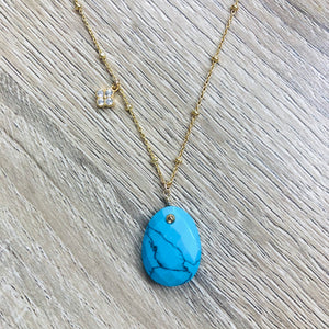 Collier Alma Howlite Turquoise Or