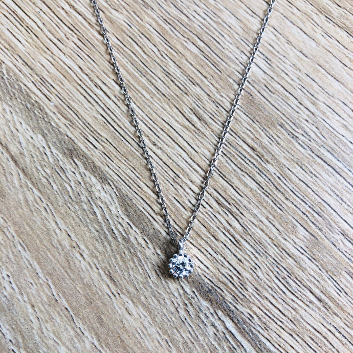 Collier ajustable Diamant Argent