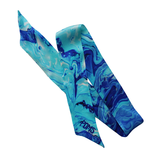 POMS - Painted blue silk scarf