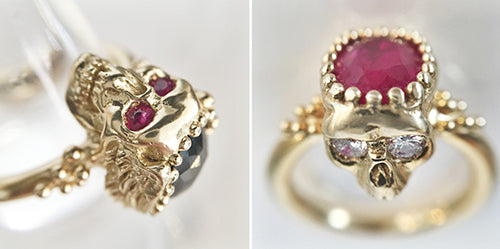 Two stunning Nick Potash 18k gold skull rings with black diamonds, white diamonds and rubies