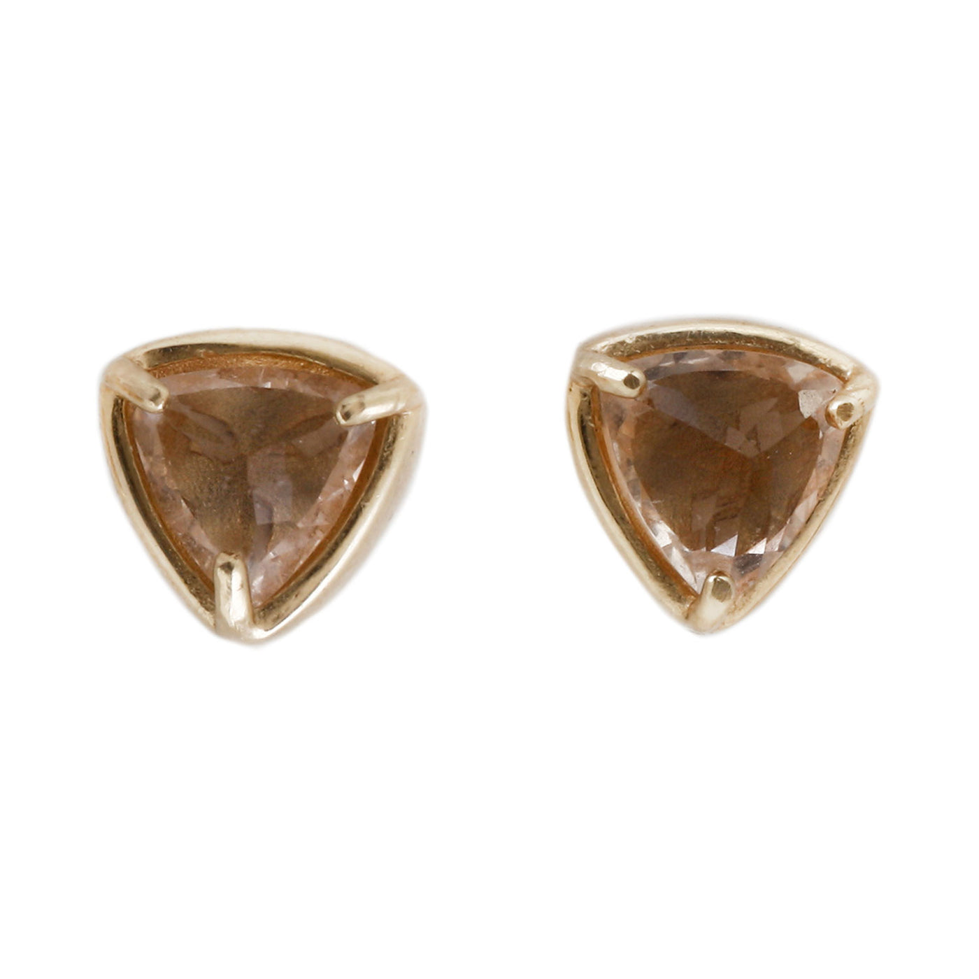 14k yellow gold stud earrings with trillion cut morganite - Lauren Wolf Jewelry