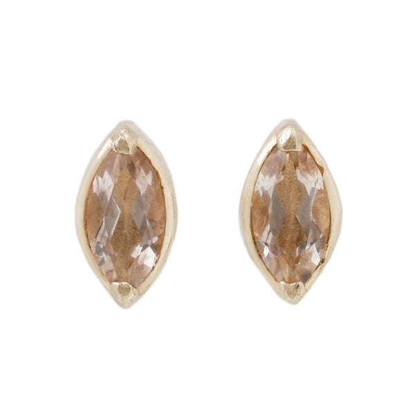 Morganite Marquise Studs Set in Yellow Gold - Lauren Wolf Jewelry