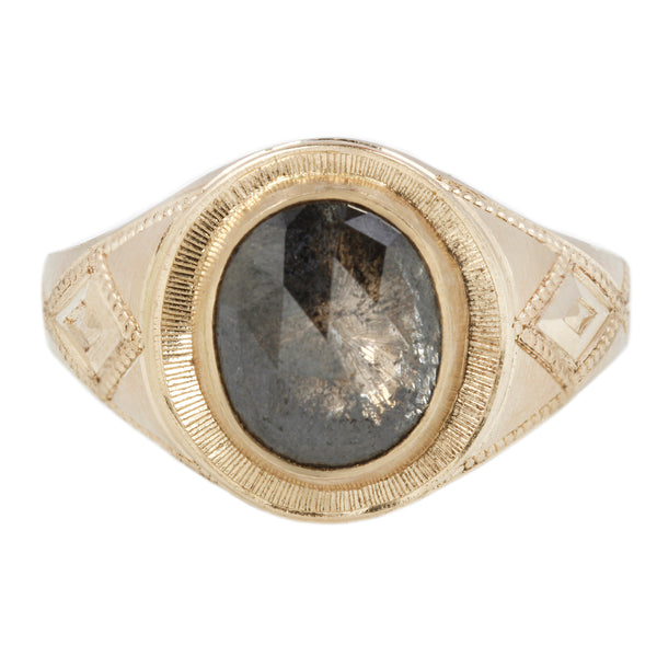 Maiden Voyage Yellow Gold Salt + Pepper Diamond Signet Ring