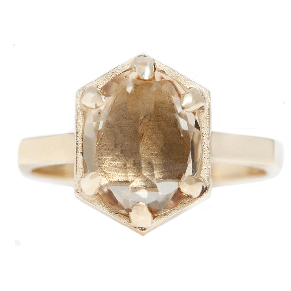 Lauren Wolf Jewelry Hexagon Champagne Quartz Ring
