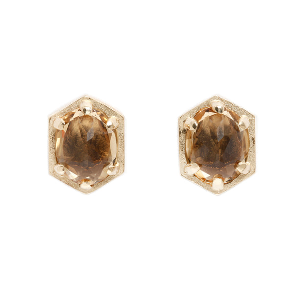Lauren Wolf Jewelry Large Champagne Quartz Hexagon Studs