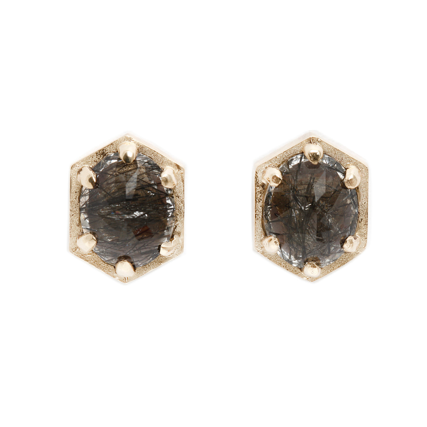 Lauren Wolf Jewelry Large Hexagon Quartz Studs