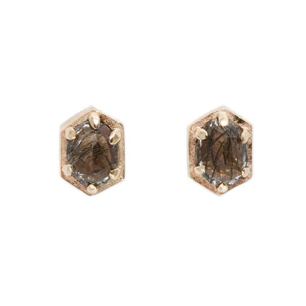 Lauren Wolf Jewelry Hexagon Quartz Stud Earrings