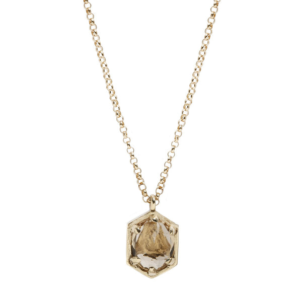 Lauren Wolf Jewelry Hexagon Champagne Quartz Necklace