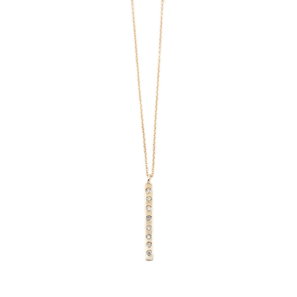 Aili White Diamond Bar Necklace in Gold