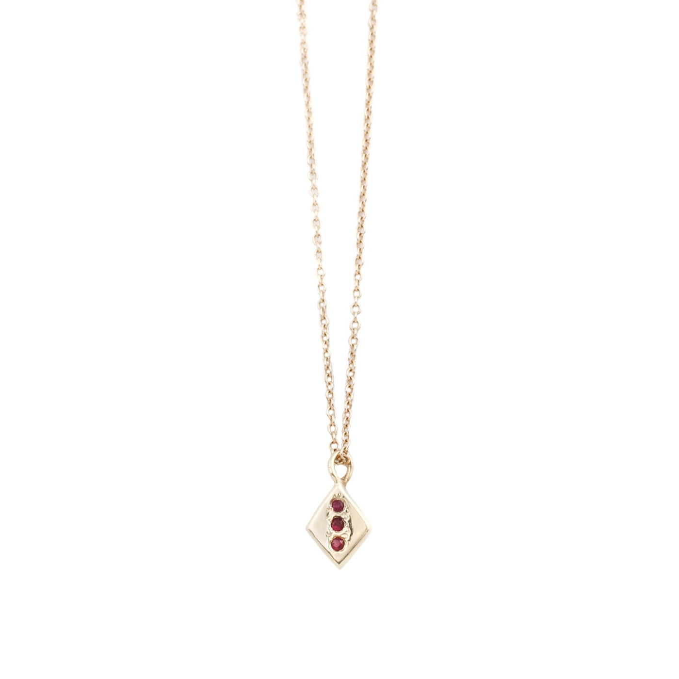 Aili Ruby and Gold Rhombus Necklace