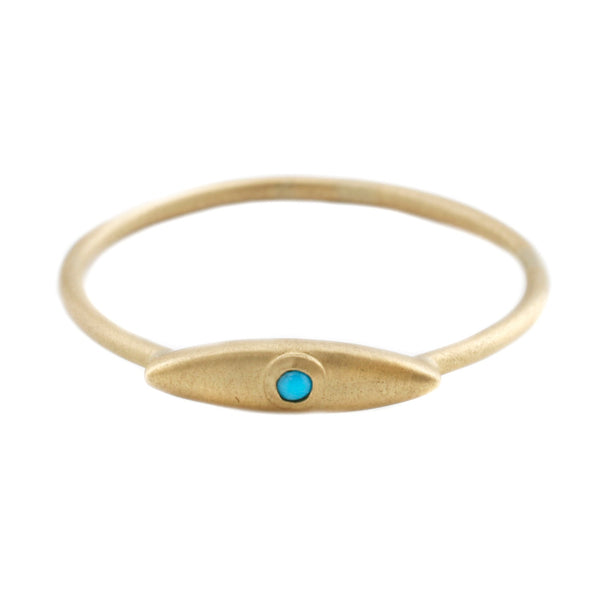 Aili Gold Evil Eye Ring with Turquoise