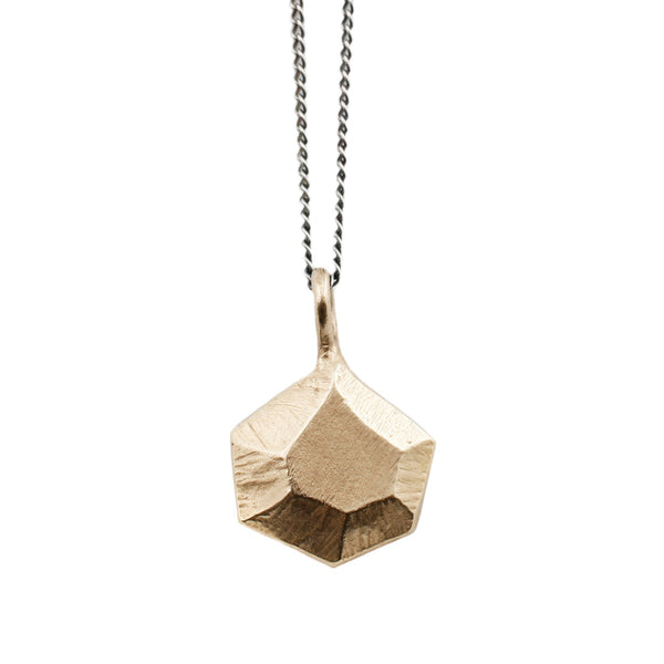 Gold Faceted Hexagon Necklace