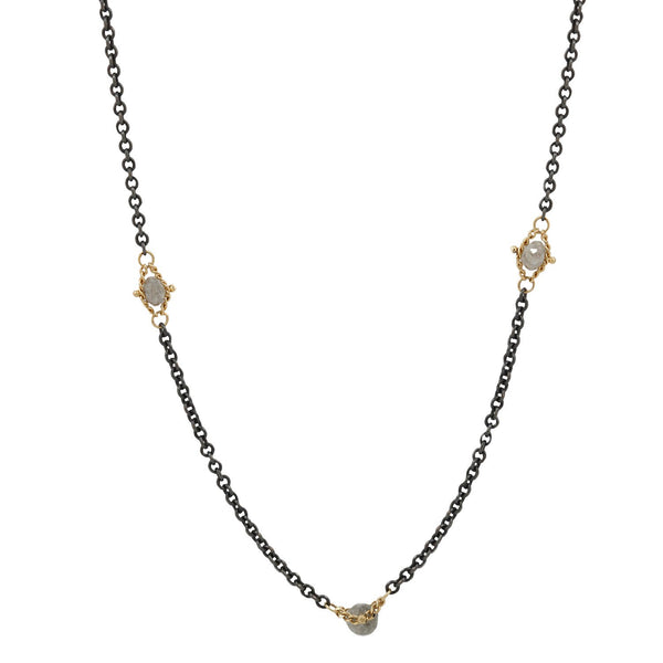 Amali Gray Diamond Textile Necklace