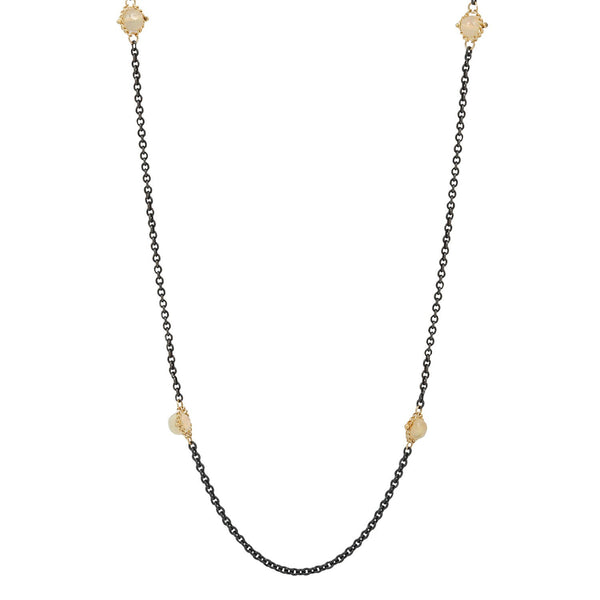 Amali Long Opal Textile Necklace