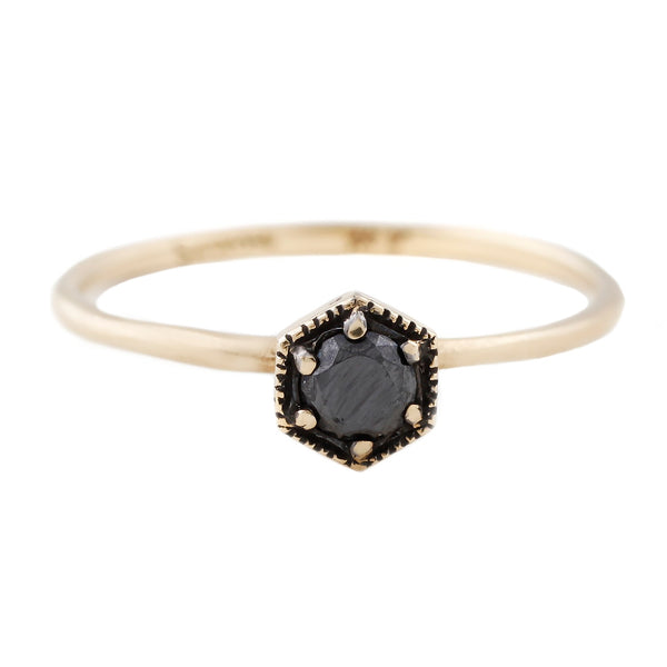 Hexagon Black Diamond Ring