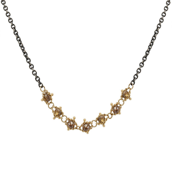 Amali Champagne Diamond Textile Necklace