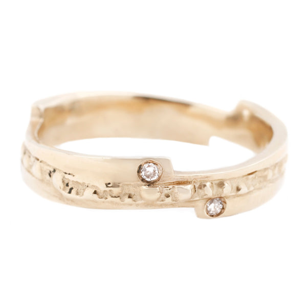 Gold Urchin Double Razor Band - Yellow Gold With White Diamonds - T.Kahres Jewelry