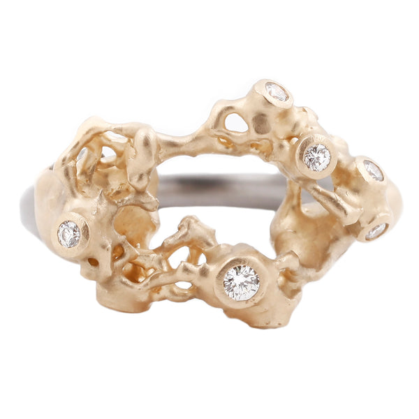 Johnny Ninos White Diamond Industrial Decay Reef Ring
