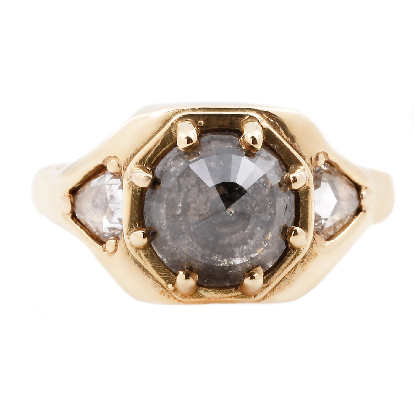 Three Diamond Shield Ring