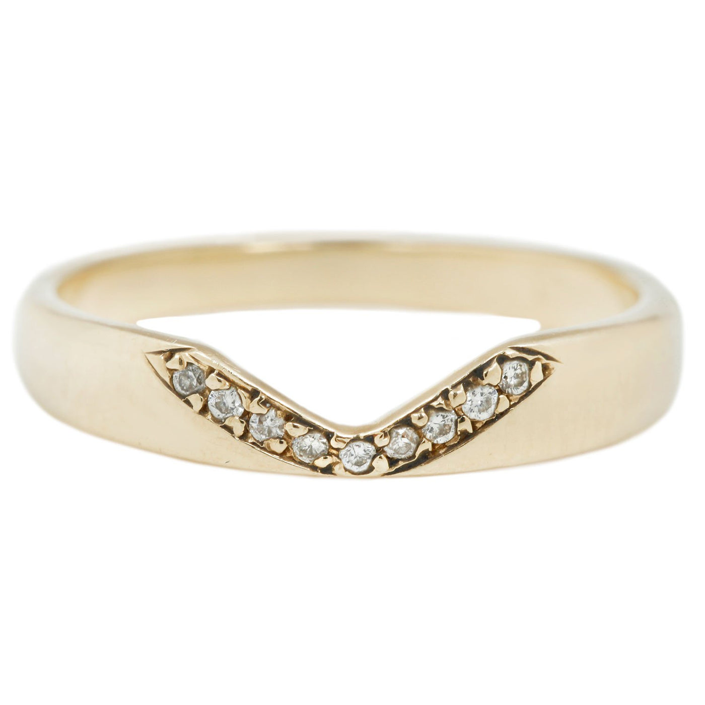 Adeline White Diamond Notch Halo Ring