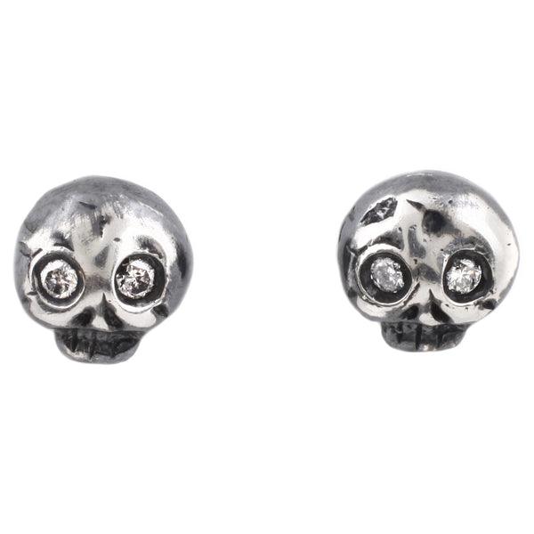 Michael Spirito Silver Diamond Eye Skull Studs