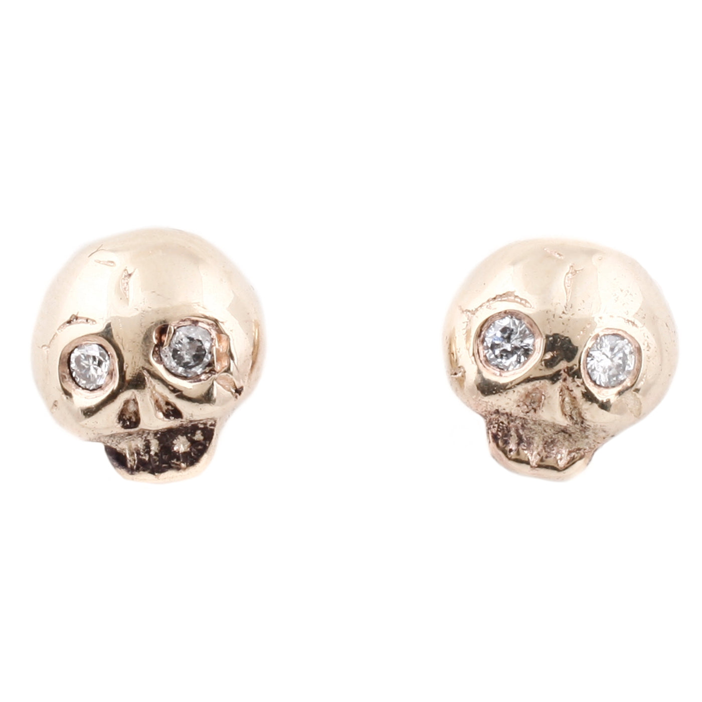 Gold Diamond Eye Skull Studs