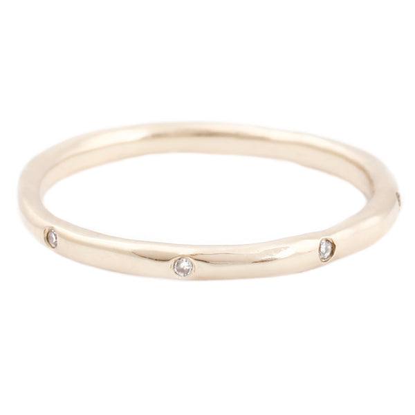 Eight White Diamond Band In Yellow Gold
