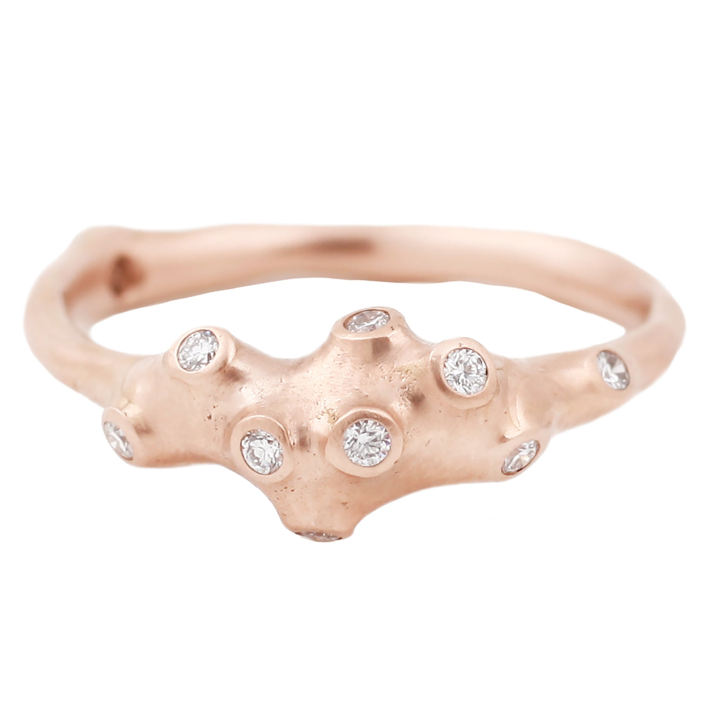 Johnny Ninos Rose Gold and White Diamond Barnacle Ring