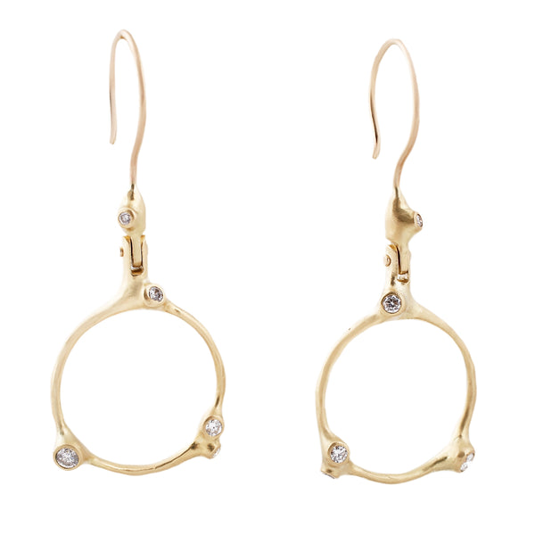 Johnny Ninos White Diamond and Gold Barnacle Dangle Hoop Earrings