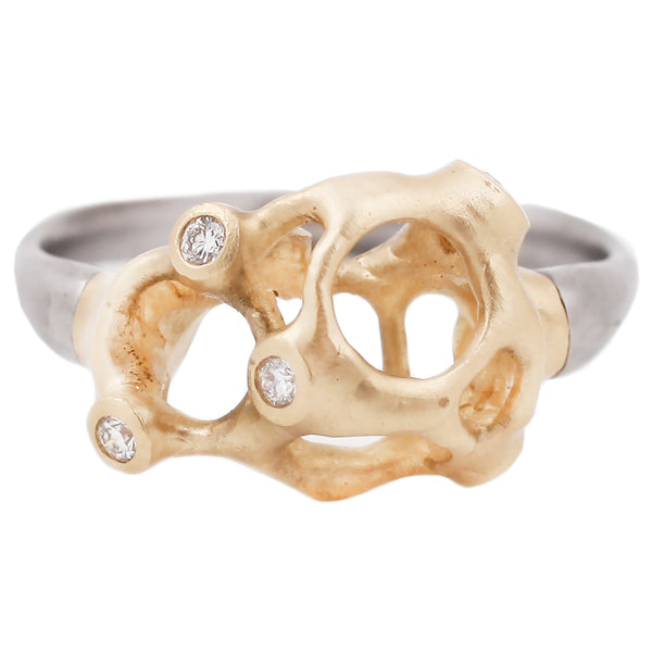 Johnny Ninos Industrial Decay Web Ring with White Diamonds