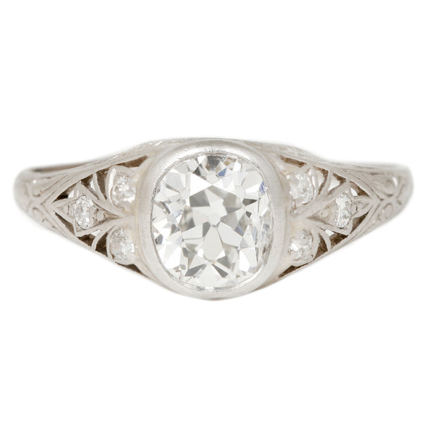 Fleur de Lis Diamond Ring in Platinum