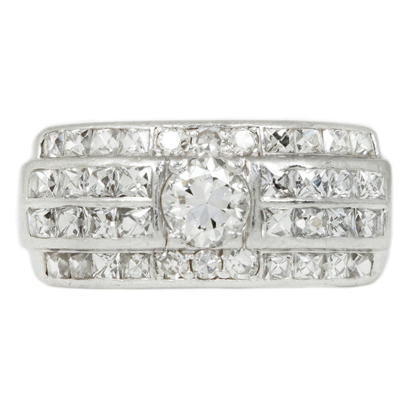 Vintage Deco Diamond Quartet Ring in Platinum