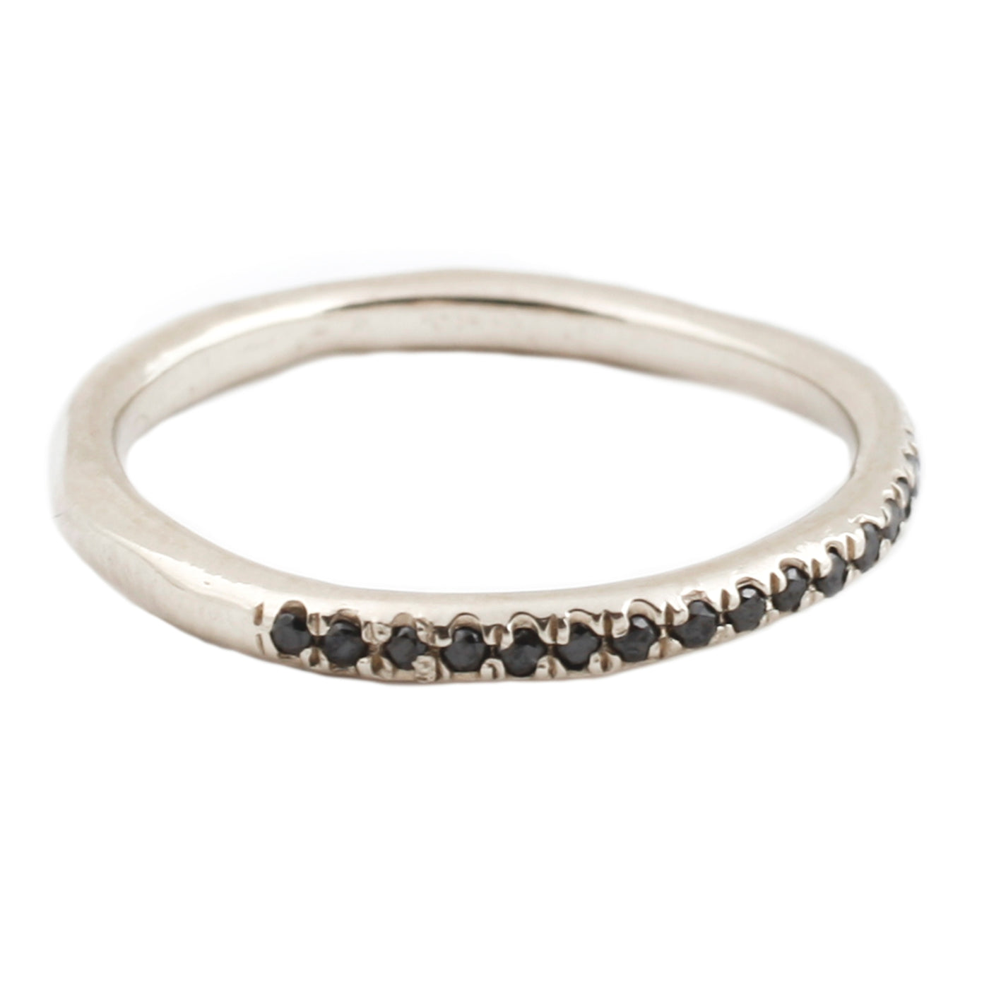 Lauren Wolf White Gold Black Diamond Half Eternity Band