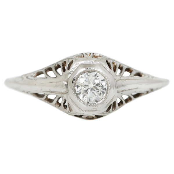 Vintage Deco Filigree Diamond Solitaire in White Gold