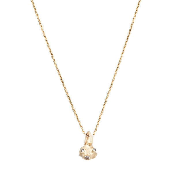 Johnny Ninos White Diamond & Gold Barnacle Ball Necklace