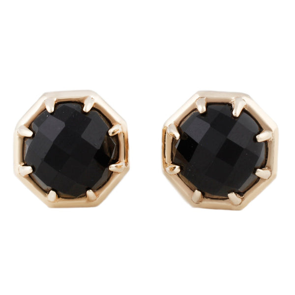 Yellow Gold Octagon Black Onyx Studs Earrings