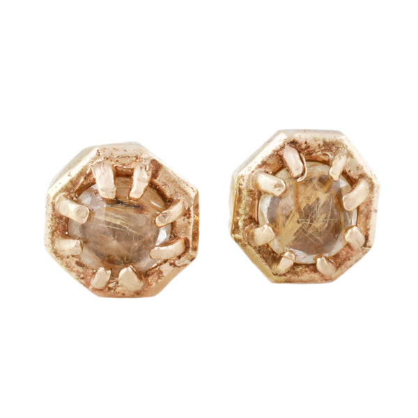 Lauren Wolf Tiny Yellow Quartz Studs